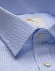 Men's Dress Blue Fabric Interest Fitted Slim Shirt - Single Cuff - Easy Iron