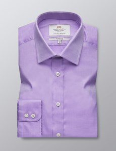Men's Formal Lilac Fabric Interest Fitted Slim Shirt - Single Cuff - Easy Iron