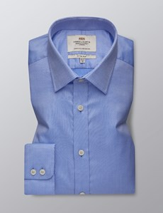 Men's Formal Blue & White Textured Dobby Fitted Slim Shirt - Single Cuff - Easy Iron