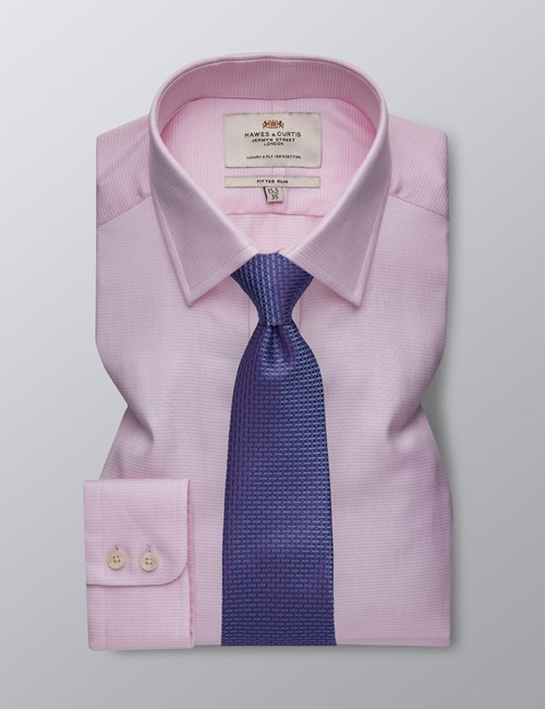 Men's Dress Pink & White Fine Dobby Fitted Slim Shirt - Single Cuff - Easy Iron