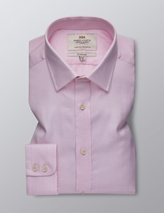 Men's Formal Pink & White Fine Dobby Fitted Slim Shirt - Single Cuff - Easy Iron