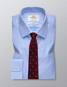 Men's Dress Blue & White Fabric Interest Fitted Slim Shirt - Single Cuff - Easy Iron