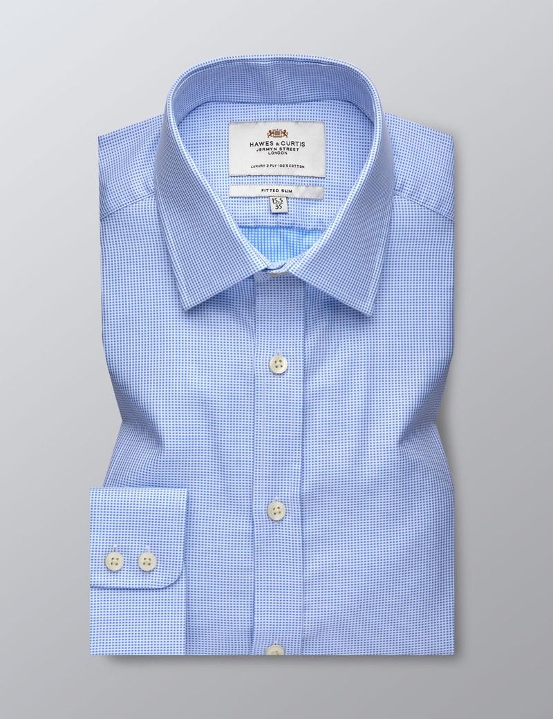 Businesshemd – Fitted Slim Fit – Kent Kragen – Webdesign blau & weiß