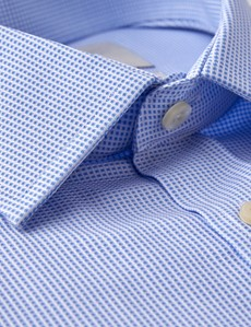 Men's Business Blue & White Fabric Interest Fitted Slim Shirt - Single Cuff - Easy Iron
