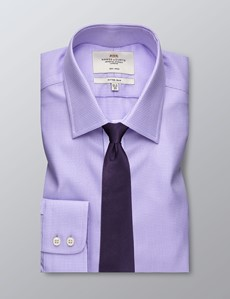 Men's Formal Lilac & White Dobby Fitted Slim Shirt - Single Cuff - Easy Iron