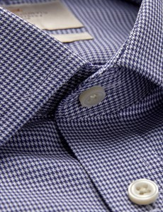 Men's Business Navy & White Dobby Fitted Slim Shirt - Single Cuff - Non Iron