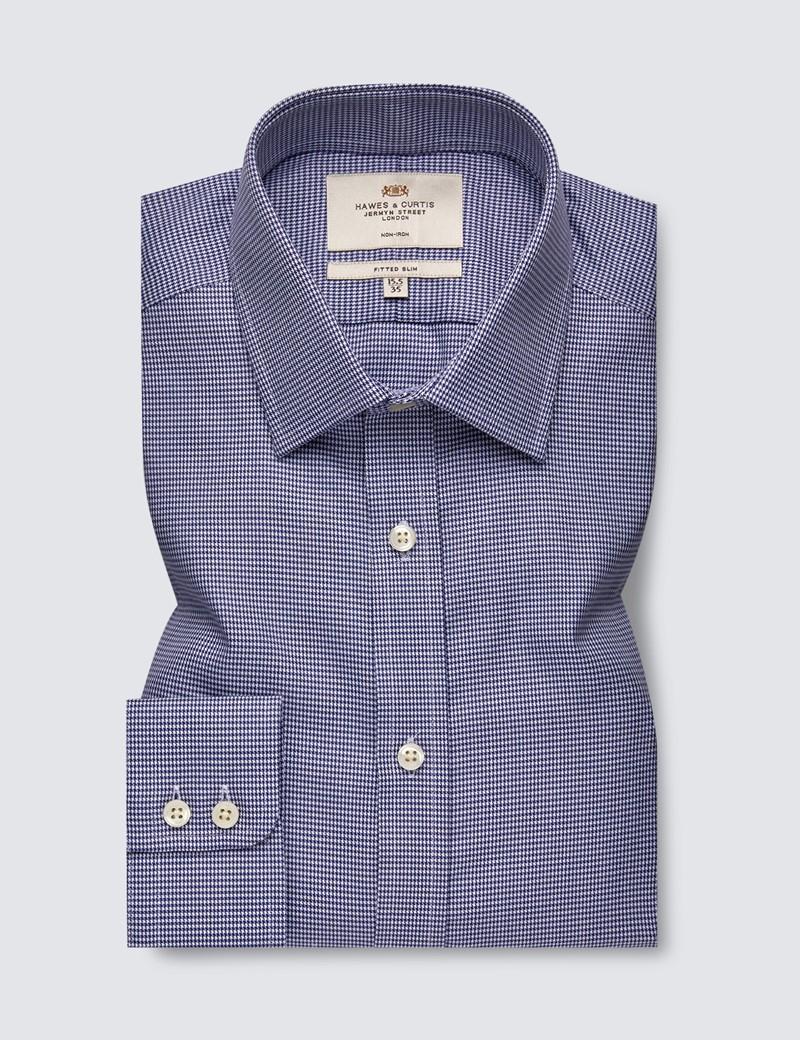 Bügelfreies Businesshemd – Fitted Slim Fit – Kentkragen – Dobby navy weiß