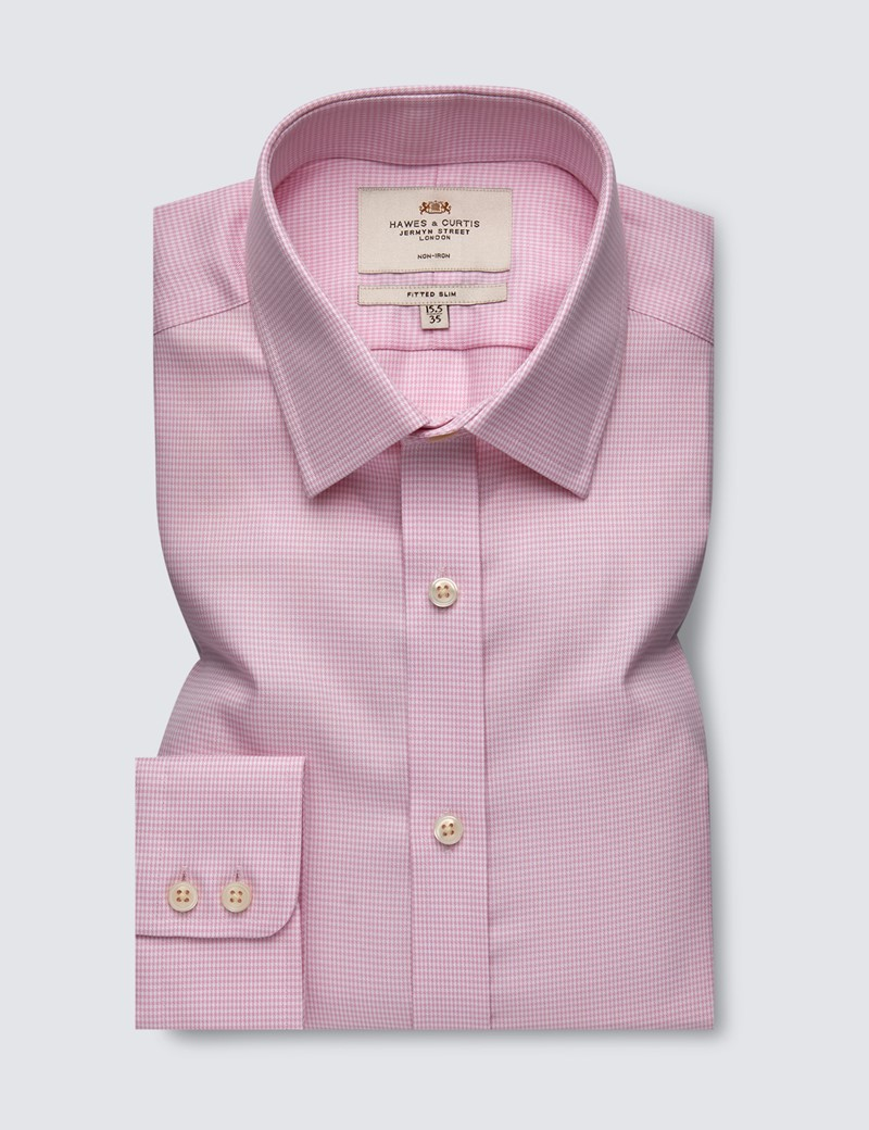 Men's Dress Pink & White Dobby Fitted Slim Shirt - Single Cuff - Non Iron