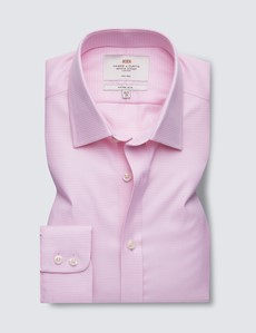 Men's Business Pink & White Dobby Fitted Slim Shirt - Single Cuff - Non Iron