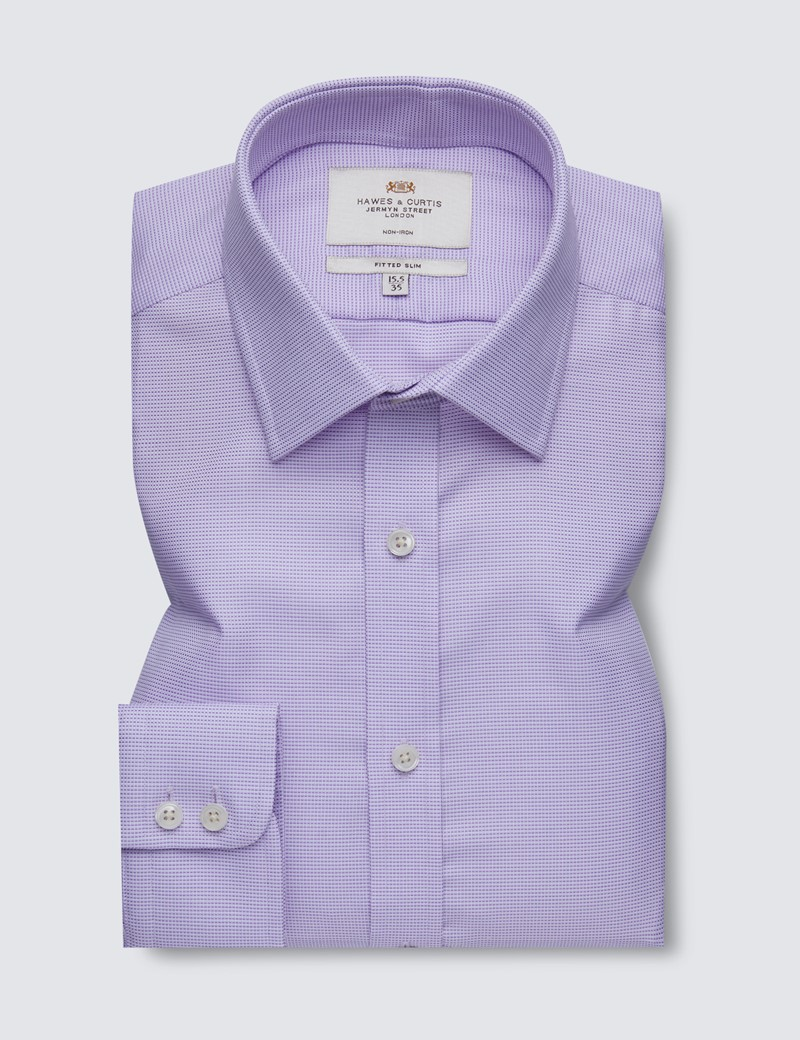 Men's Formal Lilac Fabric Interest Fitted Slim Shirt - Single Cuff - Non Iron