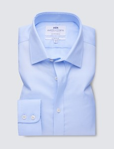 Men's Business Blue Pique Fitted Slim Single Cuff Shirt - Non Iron