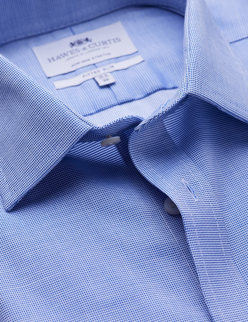Men's Business Navy & White Pique Fitted Slim Single Cuff Shirt - Non Iron
