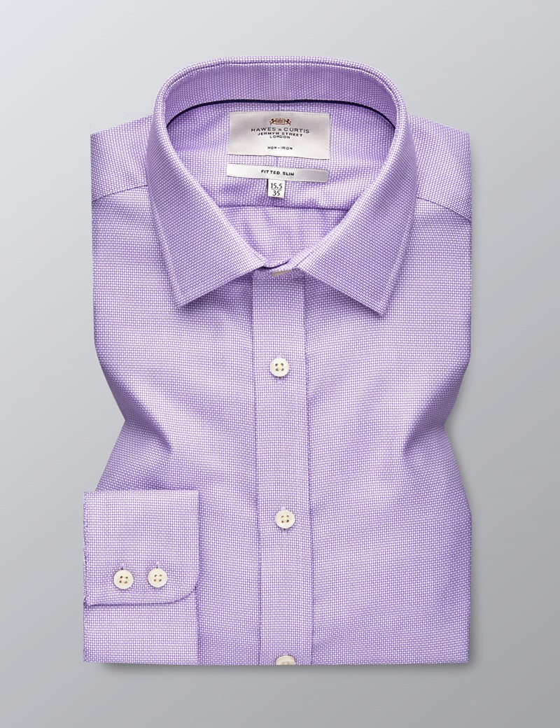 Men's Formal Lilac Dobby Fitted Slim Shirt - Single Cuff - Non Iron