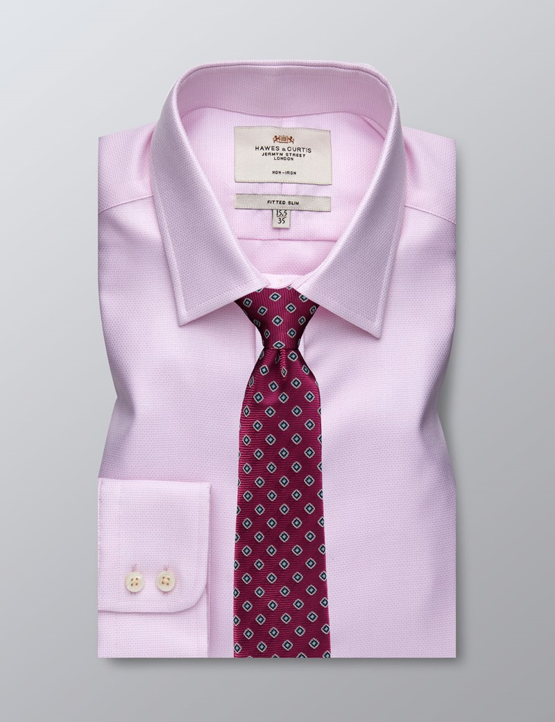 Men's Business Pink & White Fitted Slim Shirt - Single Cuff - Non Iron