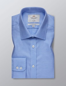 Men's Dress Blue & White Basket Weave Fitted Slim Shirt - Single Cuff - Non Iron