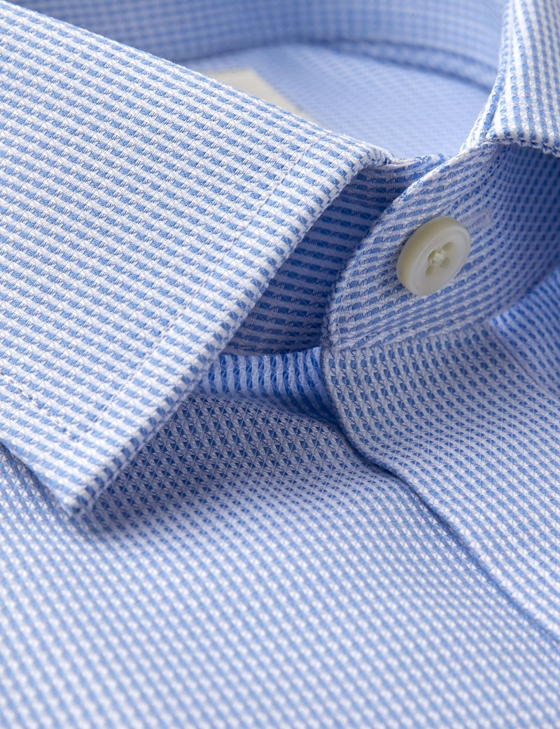 Men's Formal Blue & White Geometric Dobby Fitted Slim Shirt - Single Cuff - Non Iron