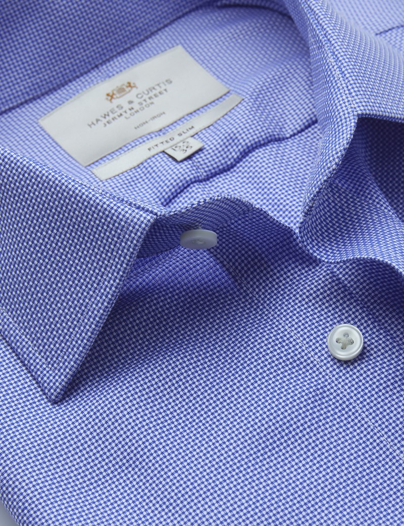 Men's Formal Royal & White Dobby Fitted Slim Shirt - Single Cuff - Non Iron