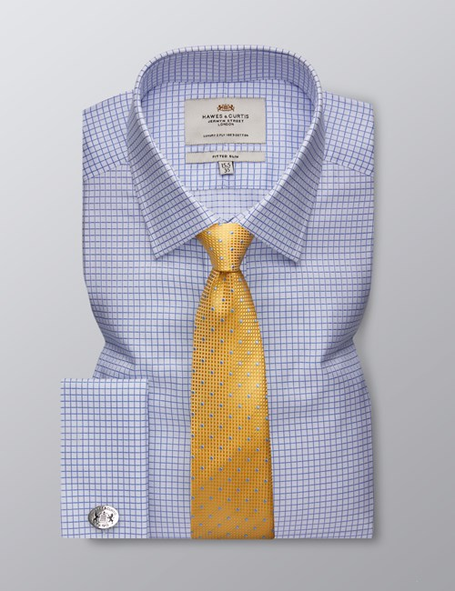 Men's Dress White & Blue Grid Plaid Fitted Slim Shirt - French Cuff - Easy Iron