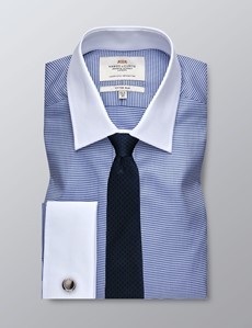 Men's Business Navy & White Dobby Fitted Slim Shirt - Double Cuff - Easy Iron