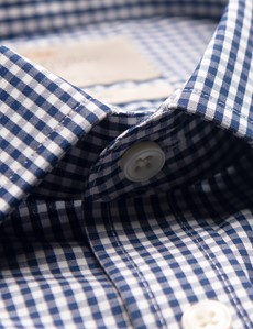 Men's Formal Navy & White Gingham Check Fitted Slim Fit Shirt - Double Cuff - Non Iron