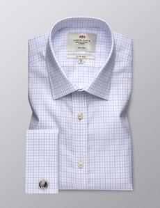 Bügelfreies Businesshemd – Fitted Slim Fit – Manschetten – Weiß mit Gitterkaro