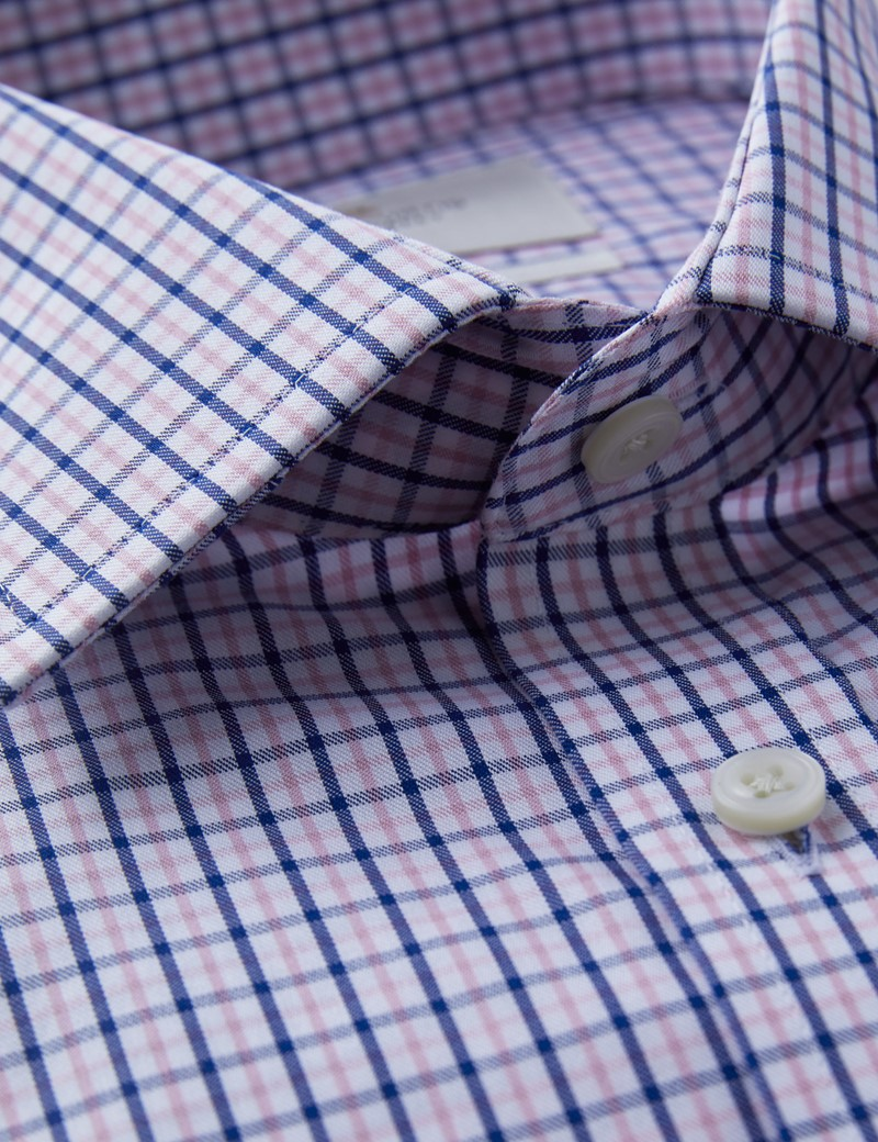 Men's Dress Navy & Pink Multi Plaid Fitted Slim Shirt - French Cuff - Non Iron