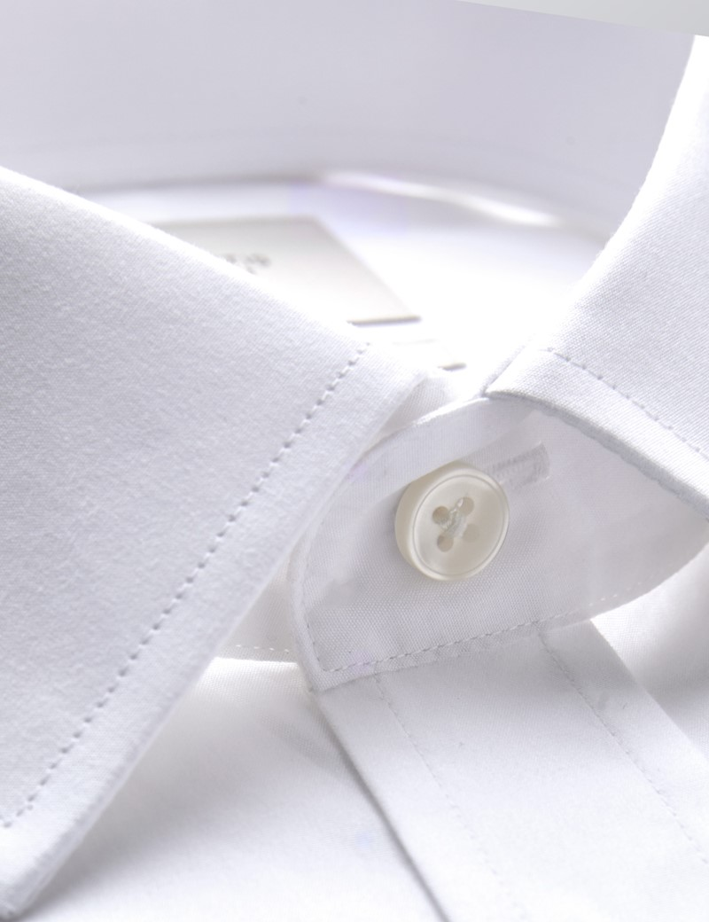 Men's Dress White Poplin Fitted Slim Shirt - French Cuff - Easy Iron