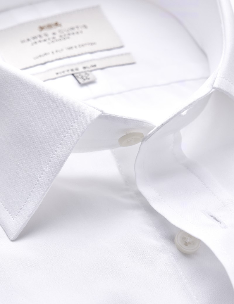 Men's Business White Poplin Fitted Slim Shirt - Double Cuff - Easy Iron