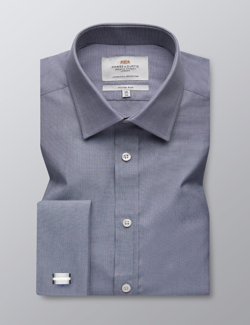 Men's Dress Grey End on End Plain Fitted Slim Shirt - French Cuff - Easy Iron