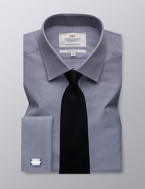 Men's Formal Grey End on End Plain Fitted Slim Shirt - Double Cuff - Easy Iron