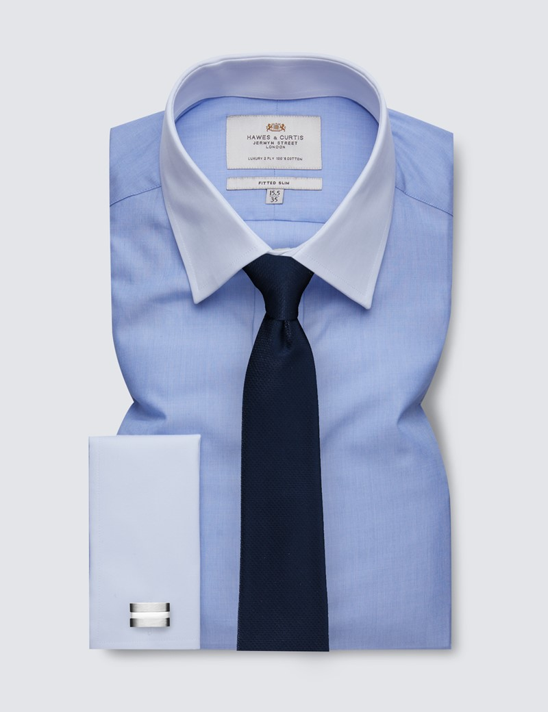 Men's Formal Blue End on End Fitted Slim Fit Shirt With White Collar & Double Cuff - Easy Iron