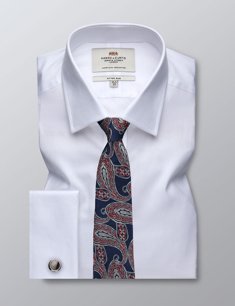 Businesshemd – Fitted Slim Fit – Manschetten – Feiner Twill weiß