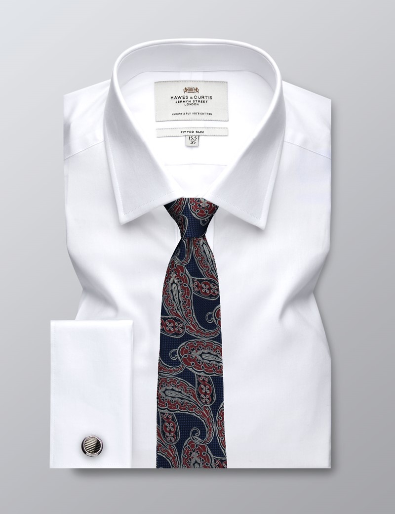 Men's Dress White Fine Twill Fitted Slim Shirt - French Cuff - Easy Iron