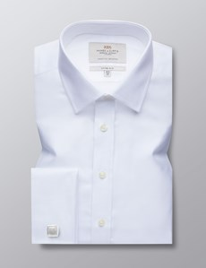 Men's Business White Herringbone Fitted Slim Shirt - Double Cuff - Easy Iron