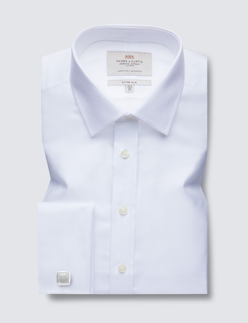 Men's Business White Herringbone Fitted Slim Shirt - Double Cuff - Easy Iron