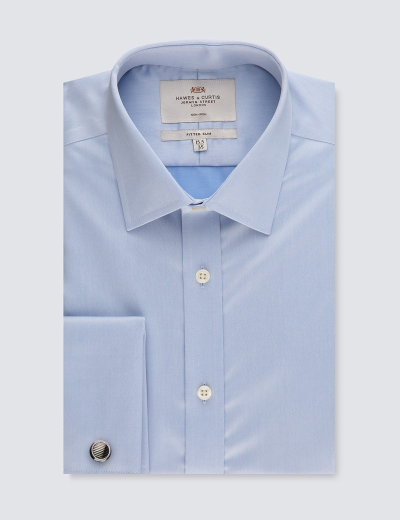Men's Dress Blue Twill Fitted Slim Shirt - French Cuff - Non Iron