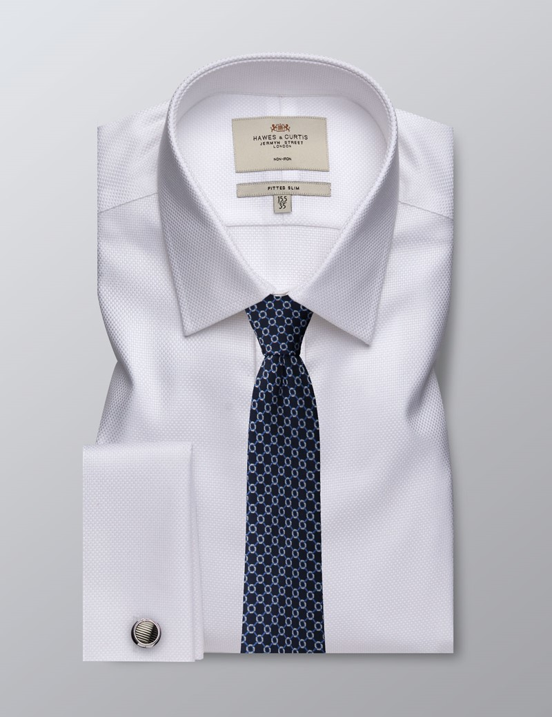 Men's Business White Twill Fitted Slim Shirt - Double Cuff - Non Iron
