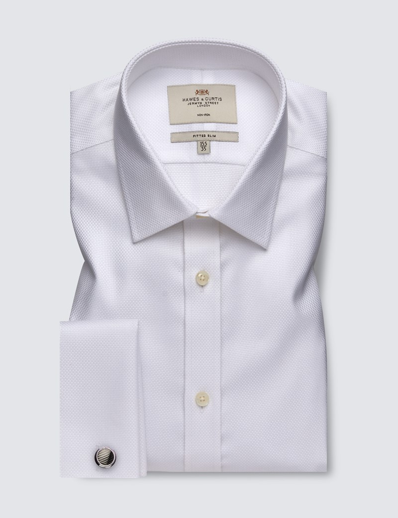 Men's Dress White Fabric Interest Fitted Slim Shirt With Semi Cutaway Collar and French Cuff - Non Iron