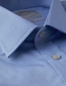 Men's Formal Blue Fitted Slim Shirt - Double Cuff - Easy Iron