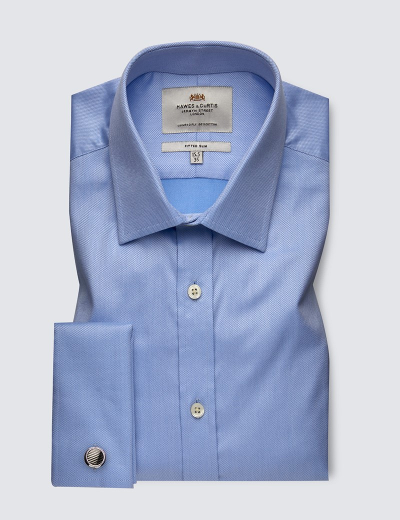 Men's Formal Blue Fitted Slim Shirt with Semi Cutaway Collar and Double Cuff - Easy Iron
