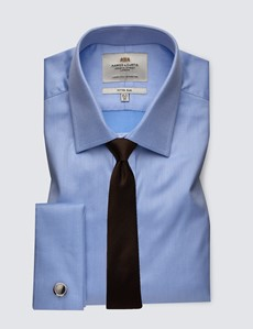 Men's Business Blue Fitted Slim Shirt with Semi Cutaway Collar and Double Cuff - Easy Iron
