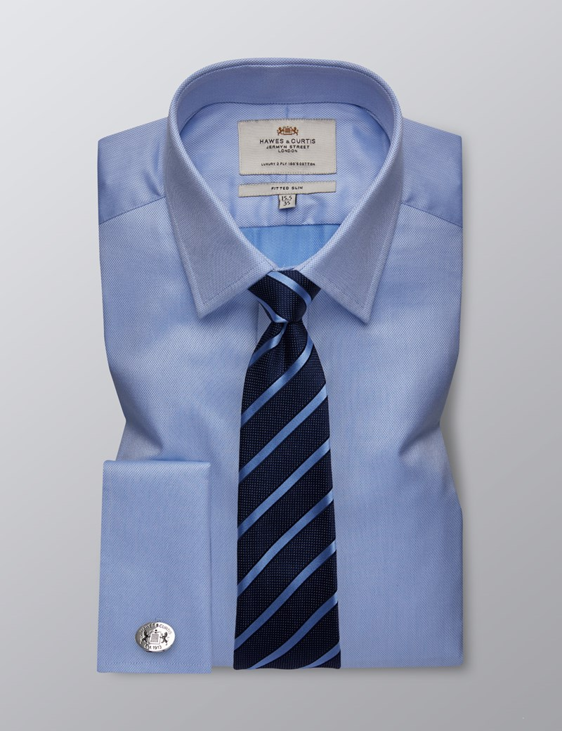 Men's Formal Blue Pique Fitted Slim Shirt - Double Cuff - Easy Iron