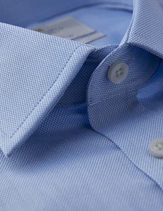 Men's Business Blue Pique Fitted Slim Shirt - Double Cuff - Easy Iron