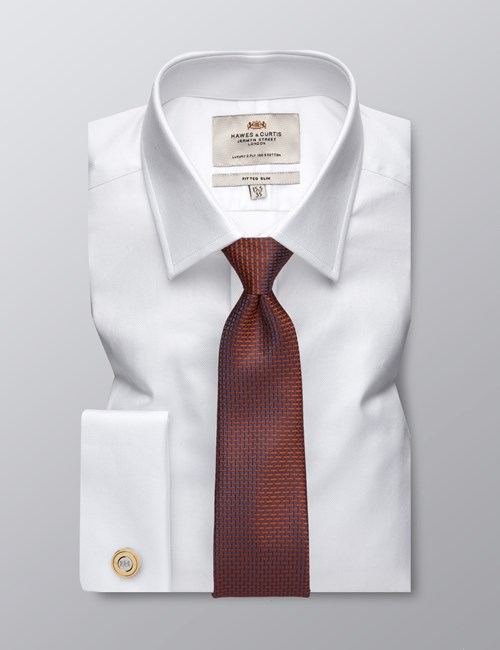 Men's Formal White Pique Fitted Slim Shirt - Double Cuff - Easy Iron