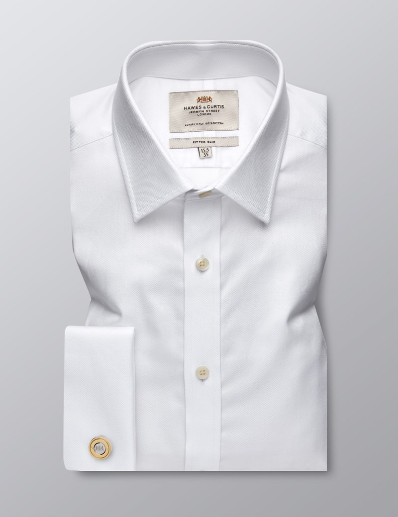Men's Dress White Pique Fitted Slim Shirt - French Cuff - Easy Iron