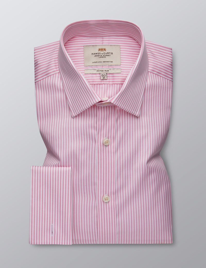 Men's Dress Pink & White Bengal Stripe Fitted Slim Shirt - French Cuff - Easy Iron