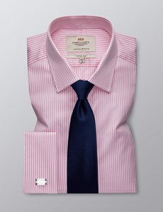 Men's Formal Pink & White Bengal Stripe Fitted Slim Shirt - Double Cuff - Easy Iron