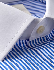 Men's Business Blue & Navy Multi Stripe Fitted Slim Shirt - Double Cuff - Easy Iron