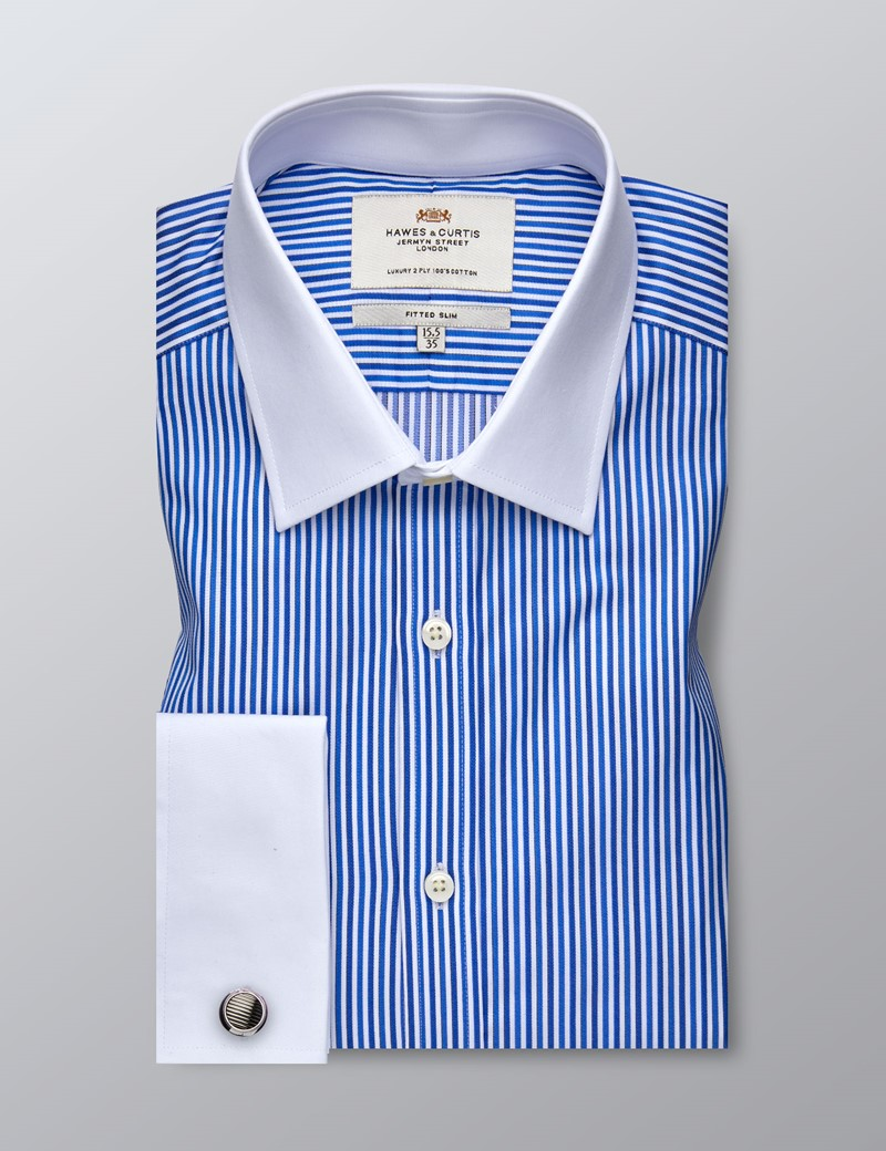 Men's Formal Blue & Navy Multi Stripe Fitted Slim Shirt - Double Cuff - Easy Iron