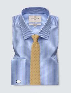 Men's Formal Blue & White Stripe Fitted Slim Shirt - Double Cuff - Non Iron